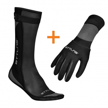 BTTLNS Neoprene swim socks and swim gloves bundle