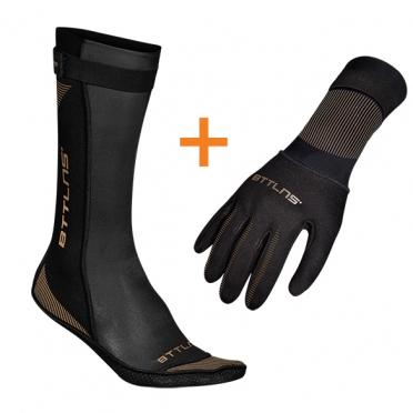 BTTLNS Neoprene swim socks and swim gloves bundle gold