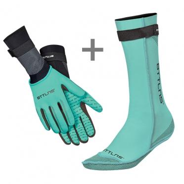 BTTLNS Neoprene swim socks and swim gloves bundle mint