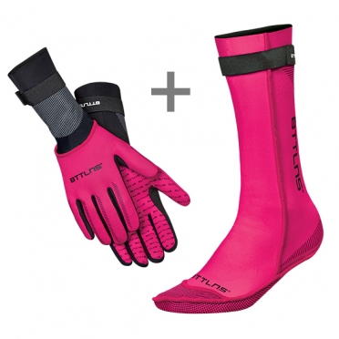 BTTLNS Neoprene swim socks and swim gloves bundle pink
